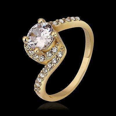 Fashion 18K gold Plated women Wedding cute Beautiful Luxury Crystal Zircon Ring