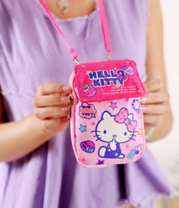 cute hello kitty canvas girl/'s bag handbag girl cell phone coin bag backpack