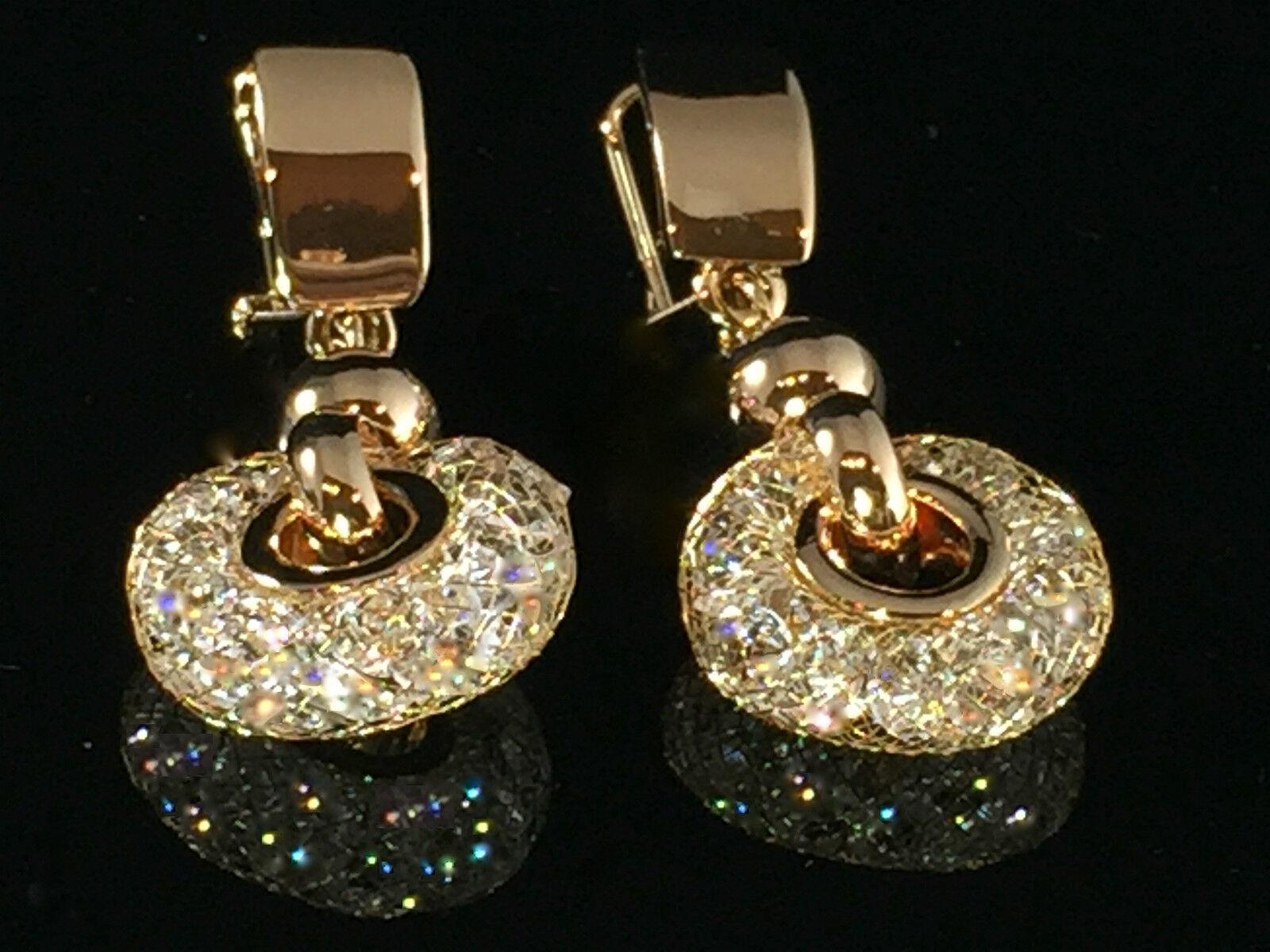 436c81788 18k gold Stardust Hoop Earrings made w Swarovski Crystal Stone Drop Earrings