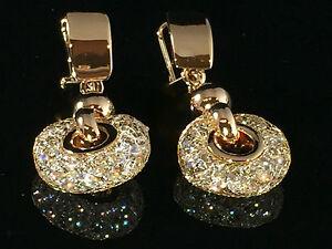 bf459aea0 18k Gold Stardust Hoop Earrings made w/ Swarovski Crystal Stone Drop ...