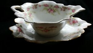 Antique-French-Limoges-sauce-bowl-amp-plate-Elite-pattern-floral-pink-yellow-roses
