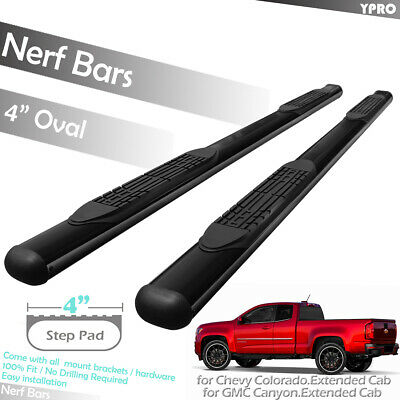"""4/"""" Oval Curved Nerf Bars Side Steps For 2015-2019 Chevy Colorado Extended Cab"""