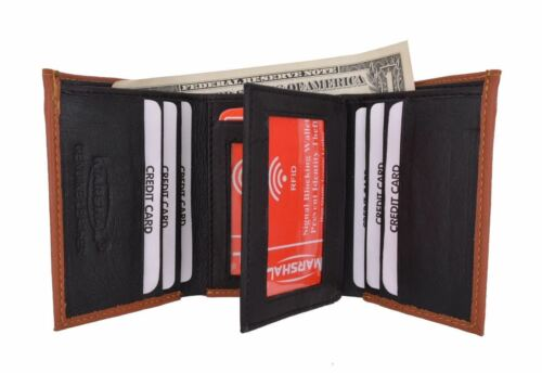 New RFID Blocking Mens Soft Crocodile Pattern Leather Trifold Wallet with Flap