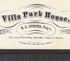 Territorial Colorado Villa Park House Hotel Denver old Business Advertising Card