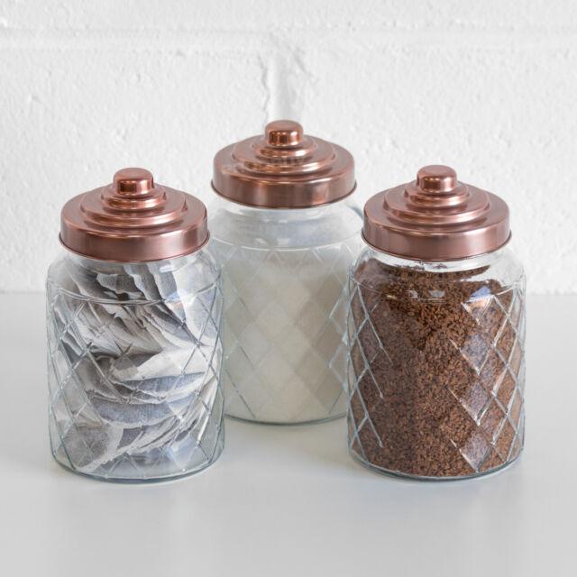 3 X 1000ml Glass Storage Jars Copper Lids Tea Coffee Sugar Canisters Kitchen