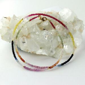 Saphir-Kette-Edelstein-Multicolor-facettiert-Collier-Karabiner-verschluss-50-cm