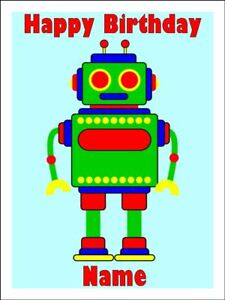 Incredible Robot Edible Icing Image Birthday Cake Topper Party Decoration 1 Funny Birthday Cards Online Alyptdamsfinfo