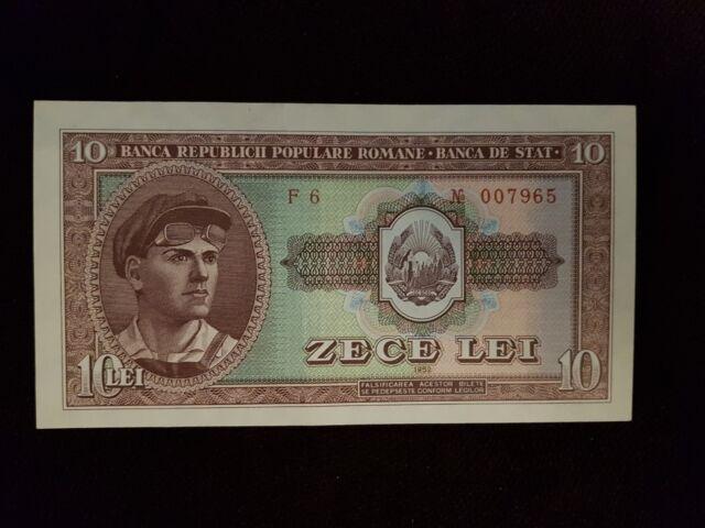 ROMANIA RPR 10 LEI 1952 XF+,AUNC RED SERIAL