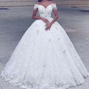 Weiss-Elfenbein-A-Linie-Spitze-Brautkleider-Hochzeitskleid-Abendkleid-Ballkleid