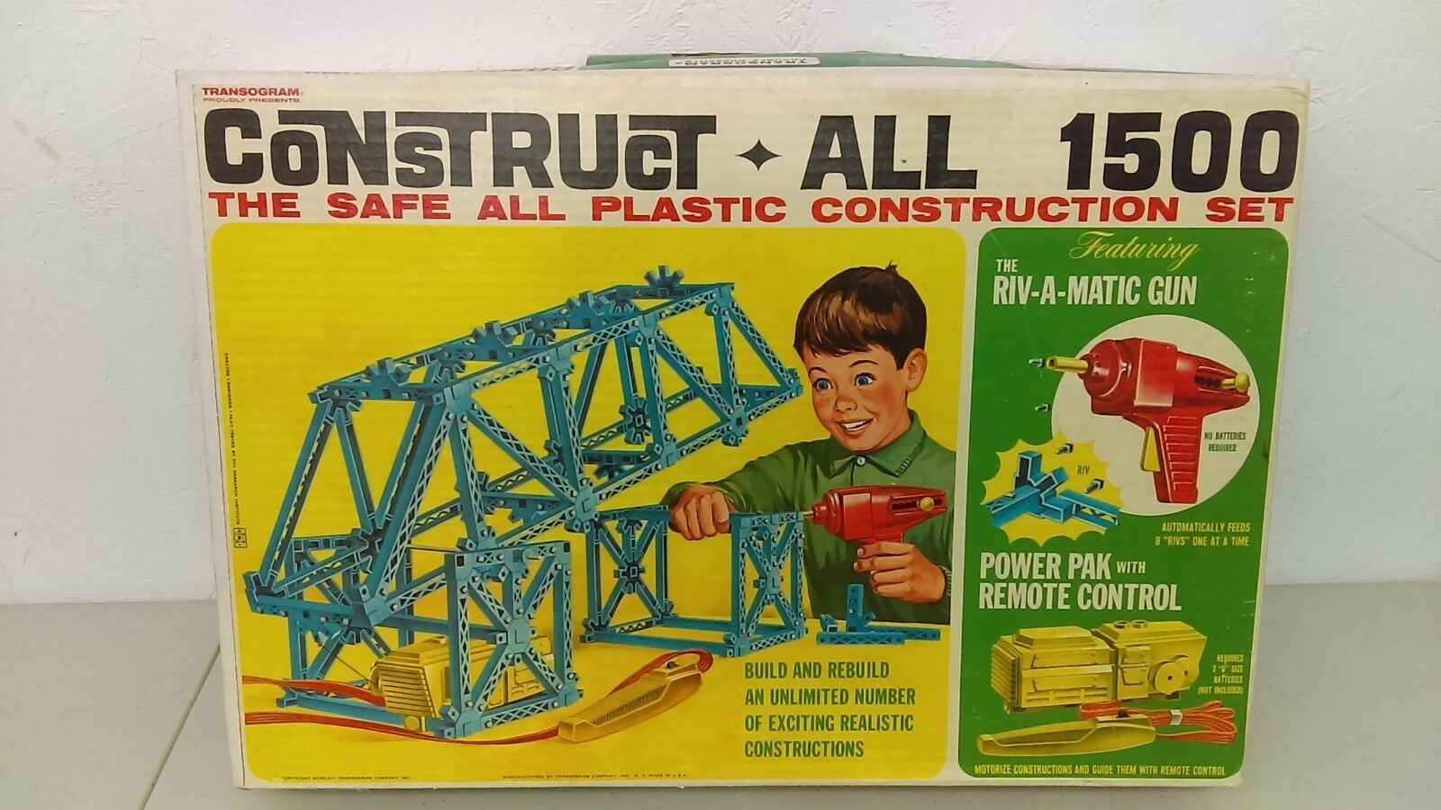 Vintage 1966 Transogram Construct Construct Construct All 1500 Building Construction Set Sealed MIB 9df684