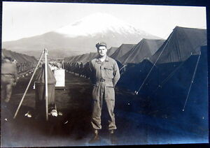 JAPAN~1950's KOREAN WAR ~ G. I. SOLDIER IN FRONT OF MT. FUJI~ CAMP~TENTS~Photo