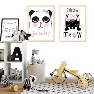 Details Sur Mignon Chat Panda Cartoon Canvas Art Poster Impression Photo Enfants Chambre A Coucher Decoration Afficher Le Titre D Origine