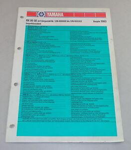 Inspection Feuille Yamaha Rx 80 Se Type 12n Année-modèle 1983-tt Yamaha Rx 80 Se Typ 12n Baujahr 1983 Fr-fr Afficher Le Titre D'origine