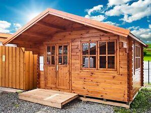Gut gemocht 44 mm Gartenhaus 400x400 cm 4x4 m Gerätehaus Holzhaus Blockhaus IF71