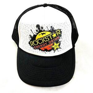 Image is loading Rockstar-Energy-Drink-Snapback-Hat-Black-Mesh-Trucker- 3267bb7e092