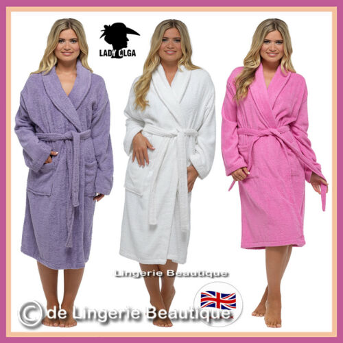 Ladies 100/% Pure Cotton Towelling Robe Wrap Size 8-22
