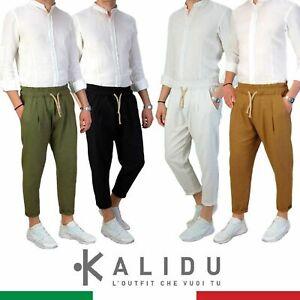 Pantalone-Uomo-LINO-nero-Primaverile-Estivo-tasche-americane-cerniera-Casual
