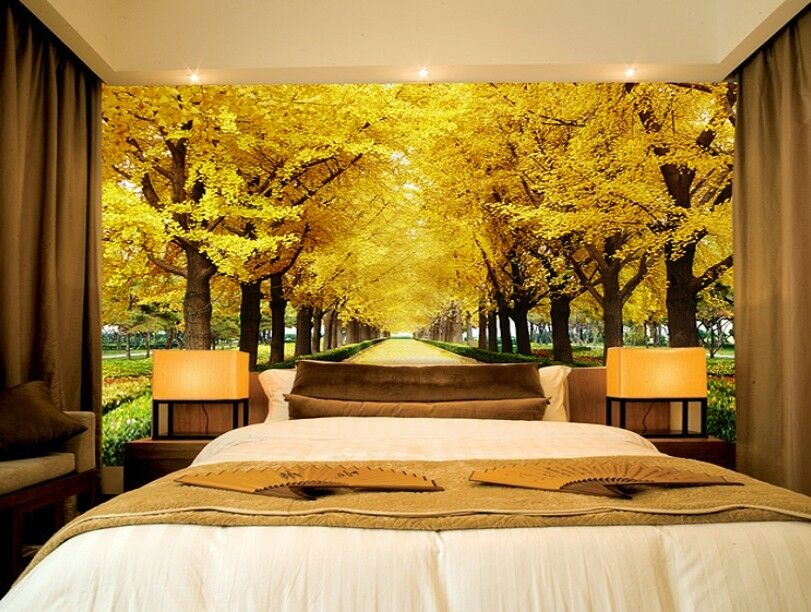 3D golden Avenue 86 Wall Paper Murals Wall Print Wall Wallpaper Mural AU Summer