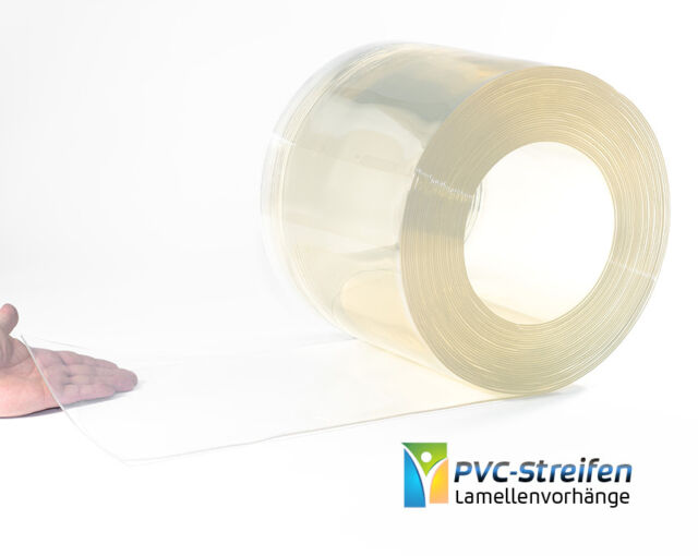 300mm x 3mm - glasklar, PVC Streifen Zuschnitte Stallvorhang Lamellenvorhang