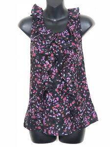 Sleeveless Small Taylor Loft Black Ruffle Shirt Floral Ann zBO4wvx
