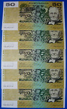 AUSTRALIAN UNC 1973 $50 Cons x5 PHILLIPS WHEELER AUS R505 CRISP FLAT BANK NOTES