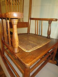 Victorian oak rocking chair pressed back spindle back for 100 year old oak table