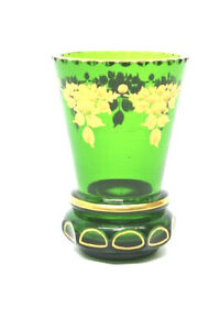 Alter Glas Ranftbecher Grün Böhmen Gold Bemalt