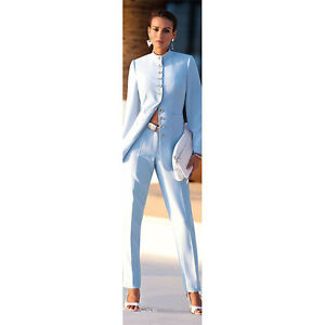 New Sky Blue Chinese Collar Womens Business Suits Formal Pant Suits