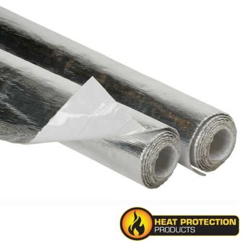 HEAT SHIELD MATT 315MM X 1M ALUMINISED FIBREGLASS WITH ADHESIVE RATED 590⁰C