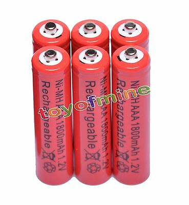 6x AAA 1800mAh 1.2V Ni-MH Rechargeable battery 3A Red Cell for MP3 RC Toys
