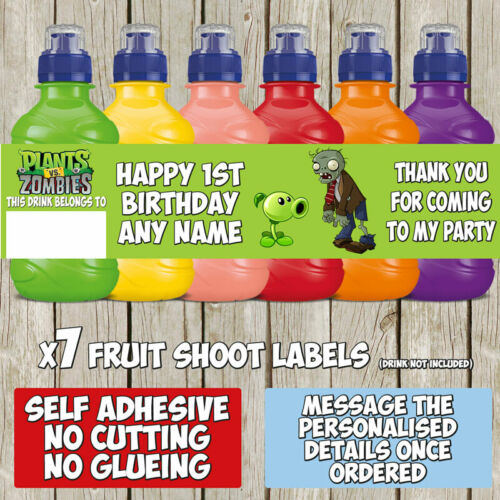 7 x Plants vs Zombies Personalised Self Adhesive Fruit Shoot Label Wrapper F042