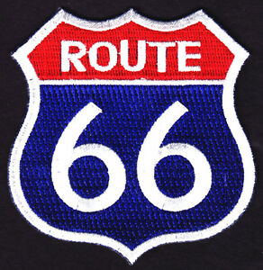 034-ROUTE-66-034-Iron-On-Patch-USA-Highway-Biker-Road-Sign-Historic