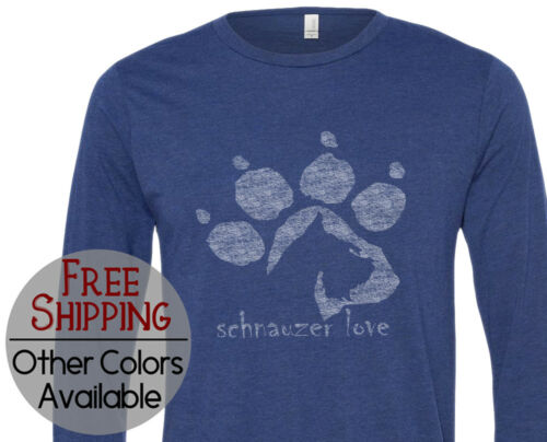 Schnauzer Love Graphic Long Sleeve Pet Dog Lover Gift Printed T Shirt Tee Shirt