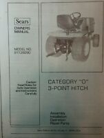 Sears Ff/20 Garden Tractor Front & Rear Pto & 3-point Owner & Parts (3 Manuals)