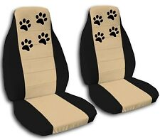 2 Black and Tan Black Paw Print Seat Covers for a 1998 to 2004 VW Beetle ABF
