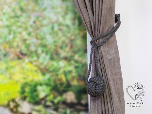 Large Gris Anthracite monkey fist nœud Rideau Embrasses Rideau Retenue Tieback