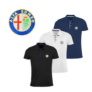 Alfa-Romeo-Polo-T-Shirt-EMBROIDERED-Auto-Car-Logo-Slim-Fit-Tee-Gift-Mens-Clothes