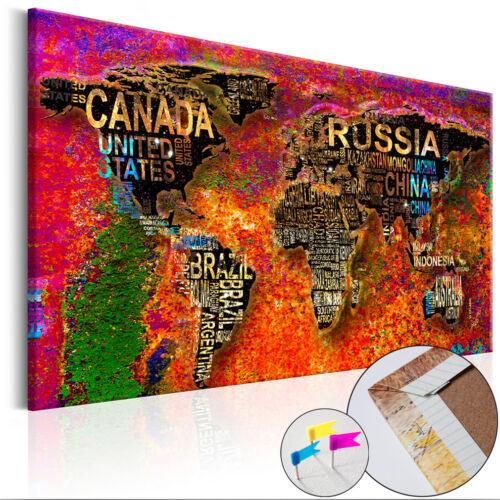 WELTKARTE PINNWAND Bild Memotafel Holzfaserplatte Wandbilder XXL Wohnzimmer 032