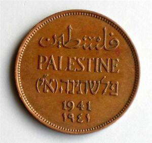 Israel-Palestine-British-Mandate-2-Mils-1941-Coin-XF
