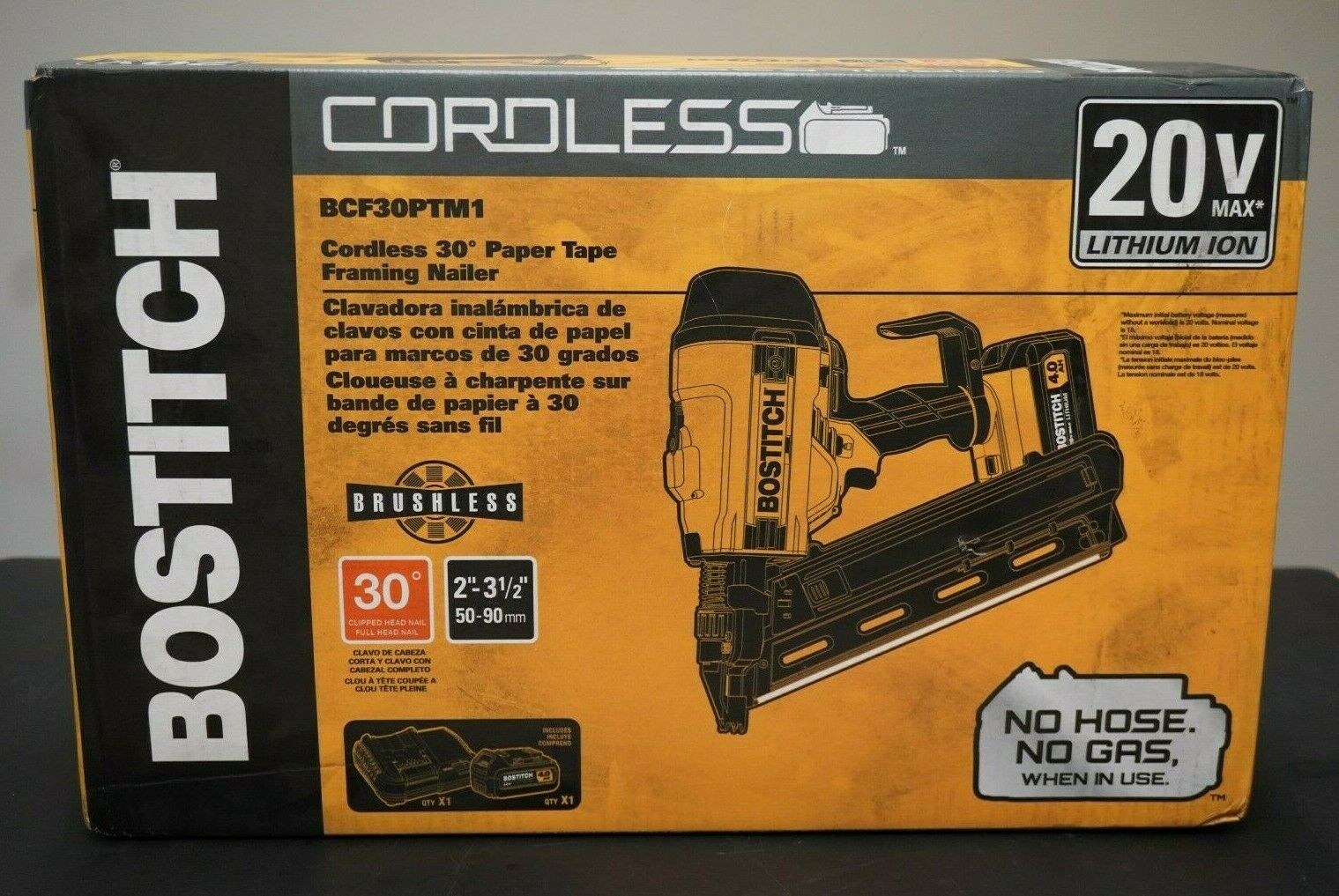 Bostitch 20V Max BCF30PTM1 Cordless 30 Degree Paper Tape Framing Nailer - A331. Buy it now for 299.97
