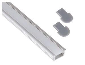 Aluminium-Einbau-Profil-2m-flach-Abdeckung-opal-matt-Endkappe-fuer-LED-Band