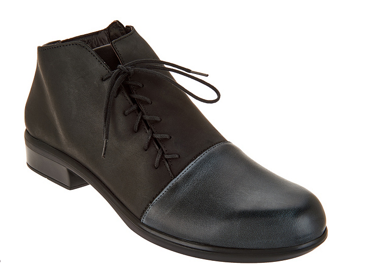 Naot Leather Outside Lace-up Ankle Boots - Camden Ash Black EU36 US 5-5.5