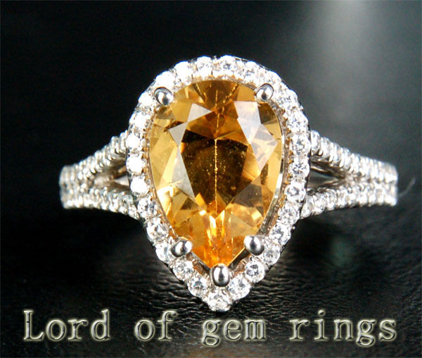 2.65ct Pear Cut Citrine Pave .61ct Diamonds 14KT White gold Halo Engagement Ring
