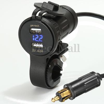 12-24V Handlebar Blue LED Dual USB Charger Voltmeter Hella Plug Socket For BMW