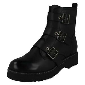 LADIES SPOT ON CASUAL WINTER ZIP UP LOW BLOCK HEELED BIKER ANKLE BOOTS F5R1069