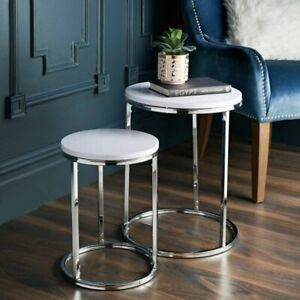SET OF 2 NEST TABLES CHROME LEGS GLOSS TOP DECOR SIDE TABLE HOME OFFICE TABLE
