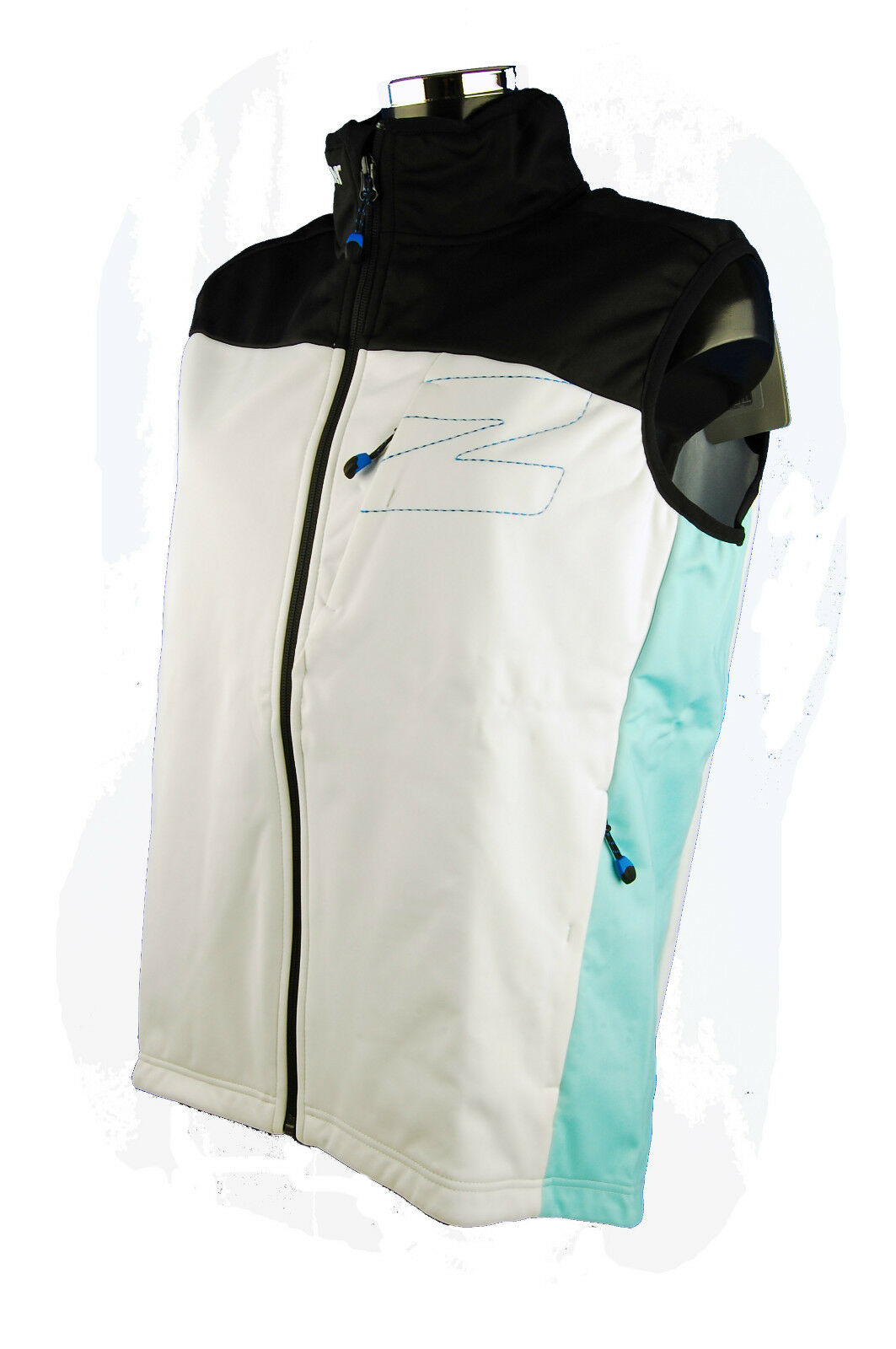 Ziener Race Softshell Vest Coat Gilet Team Wear Blau Weiß 01798 Größe M NEW