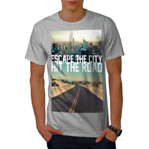 Wellcoda-Escape-The-City-Herren-T-Shirt-Lifestyle-Grafikdesign-Printed-Tee