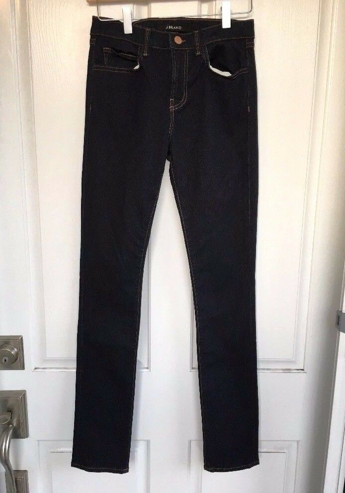NWOT  Nordstrom J BRAND Mid-Rise Contrast Stitch Dark bluee Skinny Jeans, 25