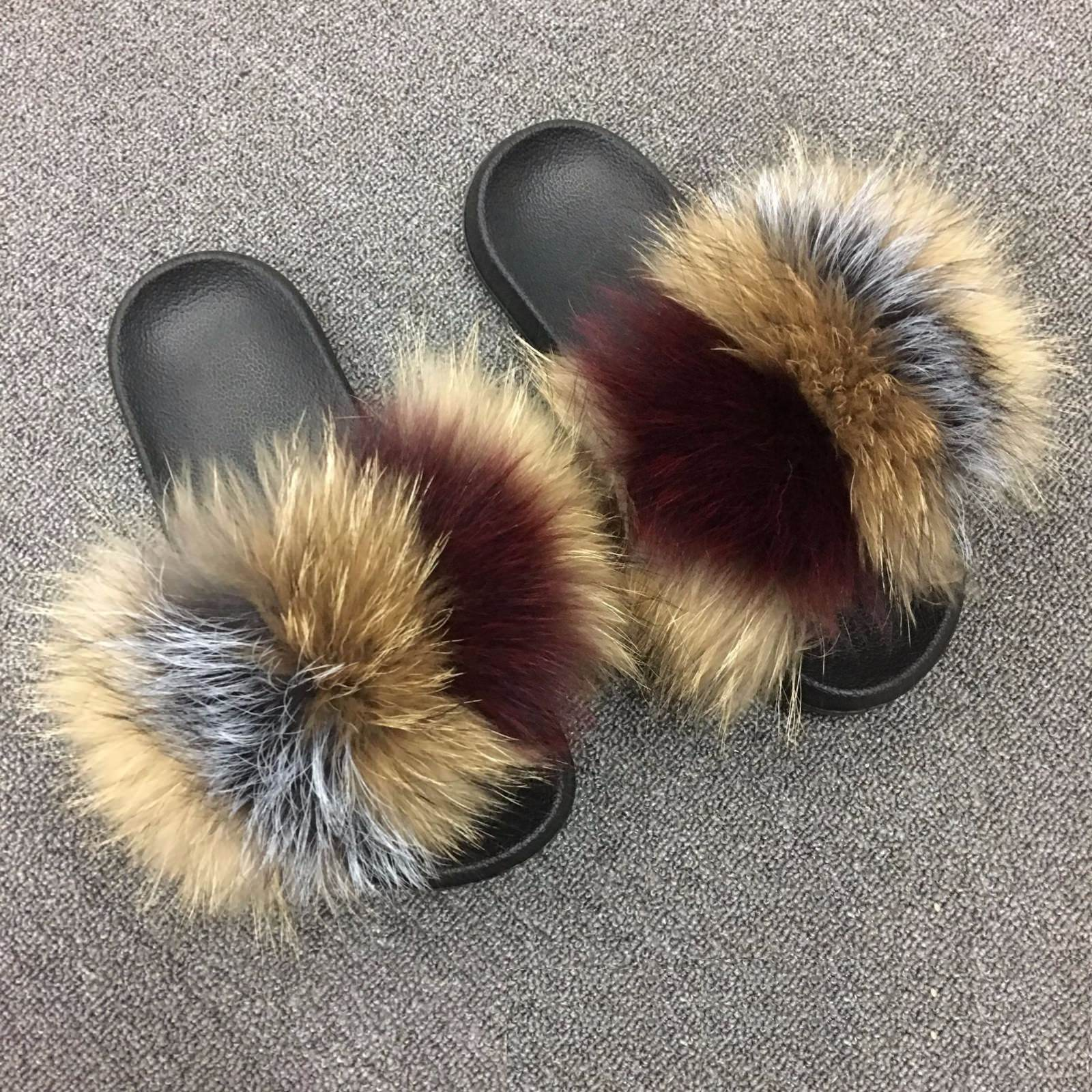 100/% Real Fox Fur Sliders Fluffy Flat Sandal children Slippers Shoes pink